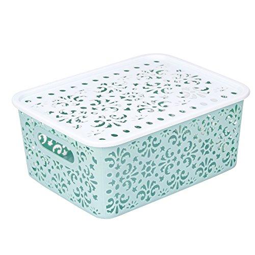 Rameng Aufbewahrungsbox aus Kunststoff, Wäschekorb, Aufbewahrungskorb aus Leinen