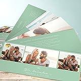 Hochzeitseinladungen, Herzklopfen 200 Karten, Kartenfächer 210x80 inkl. weißer Umschläge, Blau