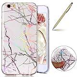 "Herbests Funda iPhone 6s (4.7""), Carcasa iPhone 6 Ultrafina Soft Gel Protector Flexible Cover IMD Láser Diseño Colorido Mármol Series Glitter TPU Silicone Funda"