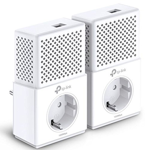 TP-Link TL-PA7010P KIT(DE) AV1000 Gigabit Powerline Netzwerkadapter (1000Mbit/s, Gigabit Port, Steckdose, ideal für HDTV, energiesparend, Plug & Play, 2er Set)