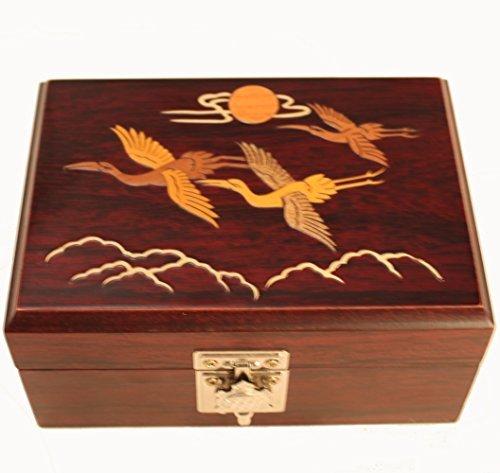 Boîte à bijoux en bois avec miroir, grues Volant