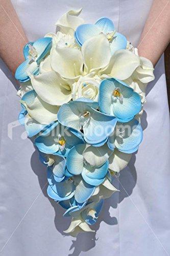 Silk blooms ltd avorio rose calle, blue orchid bouquet da sposa