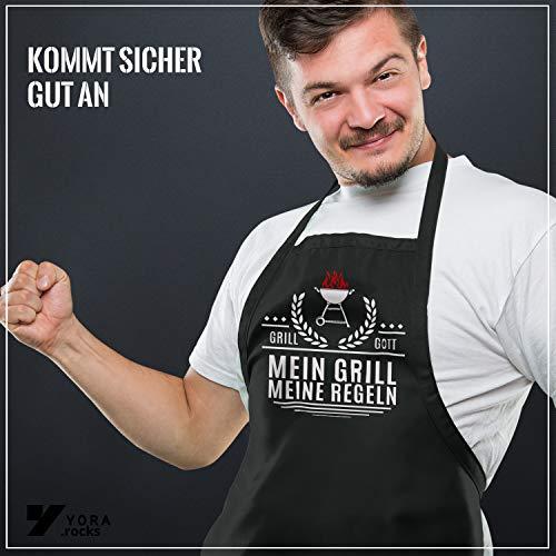 516aMRcqAeL - YORA Grillschürze für Männer lustig - Mein Grill Meine Regeln - Perfektes Grillzubehör Männer Geschenk
