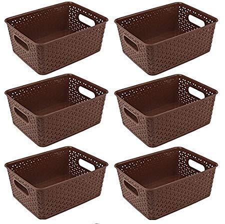 Xllent™ Multipurpose Baskets for Storage Set of-6 Pieces,Brown,Medium,B20Cm, L26Cm,H11 cm