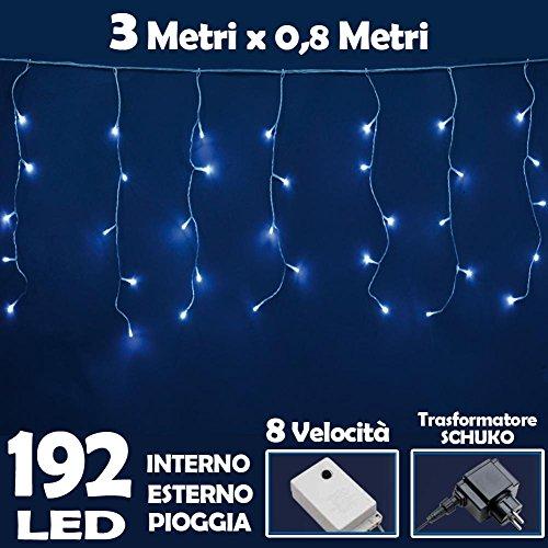 Bakaji Lighting Tenda Luminosa Natalizia 192 LED Luce Bianco Freddo 3 METRI lineari EFFETTO PIOGGIA, per uso Interno ed Esterno Luci Cavo 5 metri, con Controller per 8 Giochi di luce, luci Natalizie per Albero di Natale, Decorazioni Illuminazione Natale