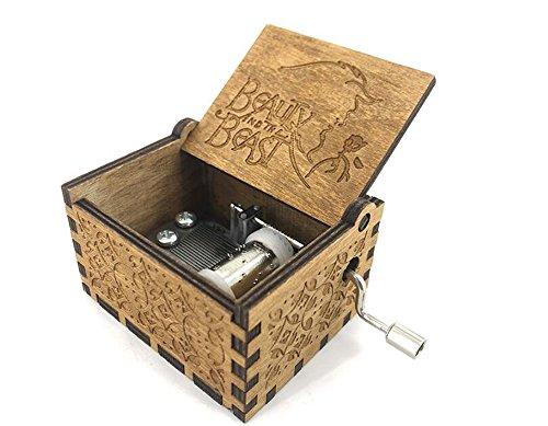 Cuzit Caja de música de madera con diseño de manivela y bestia