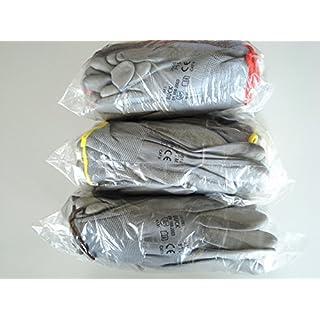 3 Paires Gants de travail Nitras 8800 EN 388 Ajustement flexible - Gants de mécanicien Gants de montage Gants de protection Gants de jardinage Gants multi-fonctions (L)