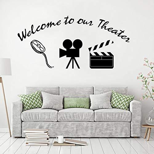 Home Movie Theater Wandaufkleber Willkommen in unserem Theater Zitat Vinyl Wandtattoo Home Decoration Movie Style Wandmalereien -40x85cm