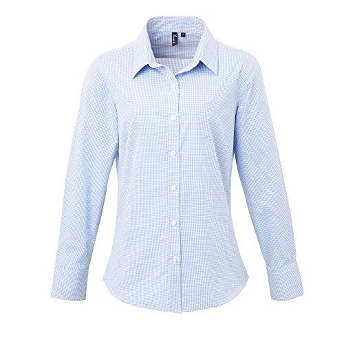 Premier Womens Microcheck Gingham Langarm Baumwollhemd Hellblau/Weiß