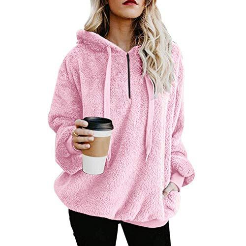 rschluss Kapuzenpulli Mantel Winter Warme Wolltaschen Mantel Outwear, Frauen mit Kapuze Fuzzy Sherpa Sweatshirt Fleece Pullover Warmer (2XL, y-Rosa) ()