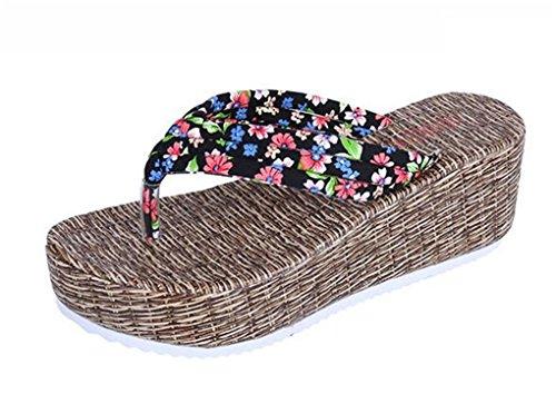 NEWZCERS Estate anti-frana d'estate delle donne con i sandali della spiaggia di sabbia di trascinamento, pantofole spesso Nero