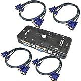 youmai (TM) Cables USB KVM de 4puertos monitor VGA SVGA KVM Switch w/4USB 2.0Kit de conmutador KVM Ratón, Teclado, vídeo 4 Ports