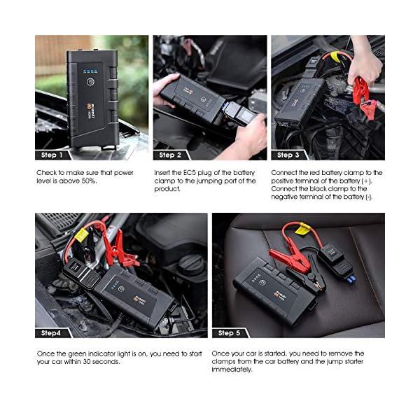 SUAOKI U8 Arrancador de coche 1000A, 12000mAh, Jump Starter portátil impermeable, 7.0L de gasolina y 5.5L de diesel, Tipo-C, QC 3.0, adaptador EC5, IP67, linterna LED, con abrazaderas inteligentes