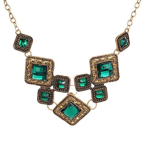 Yazilind Weinlese-Goldpalted grüne Kristallanhänger-Halskette