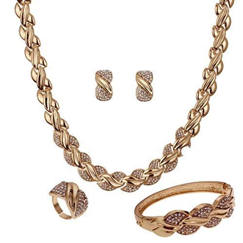 YAZILIND Frauen 18K Gold überzog aushöhlen Verdrehte Halskette Ohrringe Armband Ring Schmuck-Set für die Braut Hochzeit Abschlussball-Partei