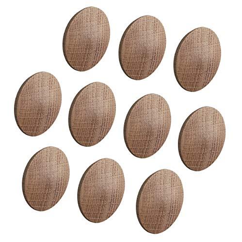Gedotec Abdeckkappen MINIFIX Loch-Abdeckungen Holz für Blind-Bohrung Ø 35 mm | Massivholz Eiche naturbelassen | Gesamt Ø 38 mm | Kappen rund zum Eindrücken | 10 Stück - Schrauben-Kappen für Möbel