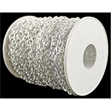 CleverDelights Cable Chain Spool - 150 Feet - Shiny Silver Color - 4x6mm Link - Rolo Chain Bulk Roll by CleverDelights