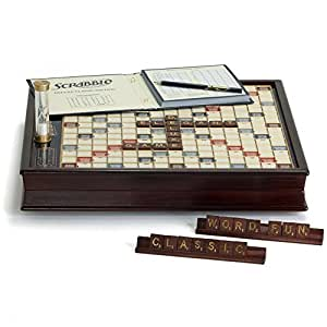 Scrabble Premium Deluxe Wood Edition with Storage Cabinet