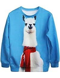 44a4b5b5a947 heyfair sueltos de la mujer gato Galaxy impresión cuello redondo Pullover  Sudadera