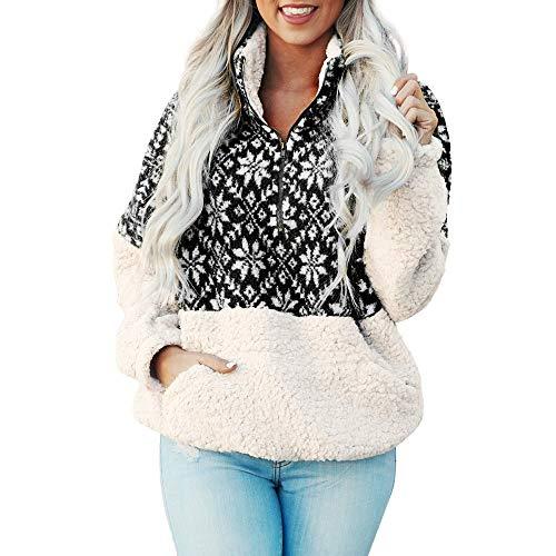 VEMOW Weihnachten Frauen Sweatshirt Herbst Heißer Casual Daily Party Sport Freizeit Reißverschluss Punkte Drucken Tops Mit Kapuze Pullover Bluse T-Shirt(B-Schwarz, EU-34/CN-S)