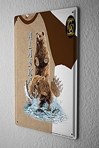 Tin Sign World Trip Alaska salmon fishing, bear Decorative Wall Plate 8X12