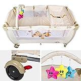 TecTake Kinder Reisebett höhenverstellbar mit Babyeinlage -diverse Farben- (Beige) - 3