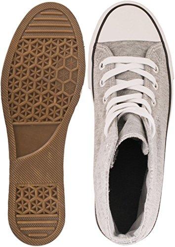 Elara Unisex Sneaker   Sportschuhe für Herren Damen   High Top Turnschuh Textil Schuhe 36-47 Grau Basic