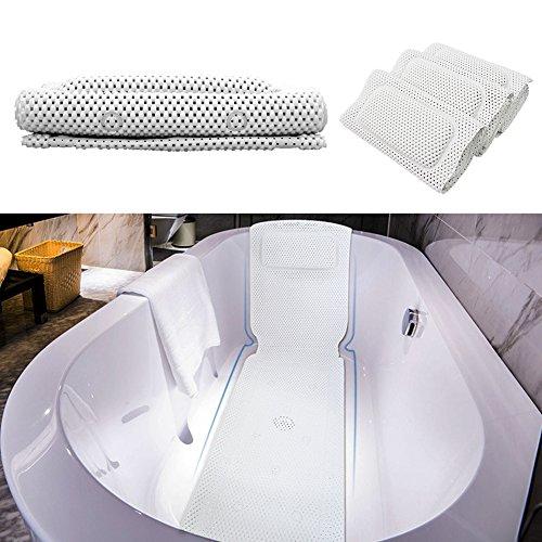 PVC Schaum Bad Kissen Matte aushöhlen Badewannen Matte 36 x 125cm voller Körper Whirlpool nicht rutschfeste Auflage-Matte mit Kissen und Saugnäpfen