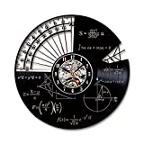 OOFAY Clock@ Wanduhr aus Vinyl Schallplattenuhr Vintage Familien Zimmer Dekoration- Hohl Mathematik Thema Design-Uhr Wand-Deko Schwarz/Durchmesser 30Cm,B