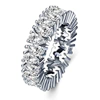 White Gold plated Eternity Engagement Band Ring with High Quality Pear Shaped Cubic Zirconia