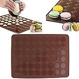 FairytaleMM 1 stücke 48 Macaron Matte Silikon Macaron Form Backen Backmatte Blatt Muffin Tablett Wiederverwendbare Backformen Küche Werkzeuge Zubehör, Schokolade