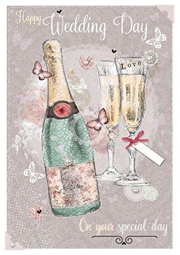 Out of the Blue Hochzeitskarte - Champagner, Gläser und rosa Schmetterlinge, 19,7 x 13,3 cm