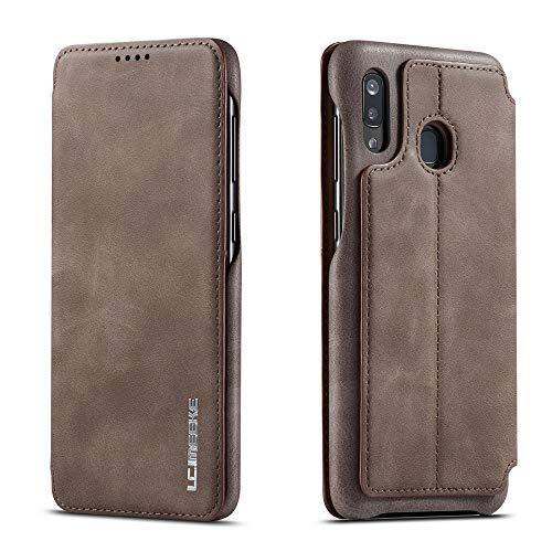 futypei für Samsung Galaxy A20e Hülle, Slim Leder Flip Case [Stoßfest] [Kartensteckplatz] Magnetisch Ledertasche Handyhülle Schutzhülle Tasche Brieftasche Etui für Samsung Galaxy A20e Kaffee