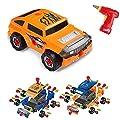 Virhuck 36pcs Take-A-Part Spielzeugauto für Kinder, Montage Spielzeug Set Baufahrzeuge Auto mit Elektro-Bohrmaschine, 4 Arten von Kombinationen, Geschenke für Kinder - Orange Blau von Virhuck