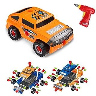 Virhuck 36pcs Take-A-Part Spielzeugauto für Kinder, Montage Spielzeug Set Baufahrzeuge Auto mit Elektro-Bohrmaschine, 4 Arten von Kombinationen, Geschenke für Kinder - Orange Blau