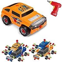 Virhuck 36 pezzi Auto Giocattolo Prende-una-Parte per Bambini,Assemblare Fuoristrada, con Trapano Elettrico Strumento, 4 Tipi di Combinazioni, Giocattoli Educativi STEM Auto per Bambini - Arancione Blu