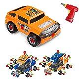 Virhuck 36pcs Take-A-Part Spielzeugauto für Kinder, Montage Spielzeug Set Baufahrzeuge Auto mit Elektro-Bohrmaschine, 4 Arten von Kombinationen, Weihnachtsgeschenke Geschenke für Kinder - Orange Blau