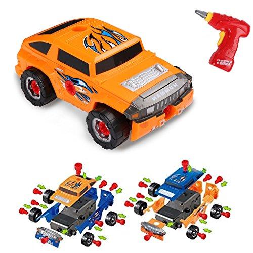 Virhuck 36pcs Take-A-Part Spielzeugauto für Kinder, Montage Spielzeug Set Baufahrzeuge Auto mit Elektro-Bohrmaschine, 4 Arten von Kombinationen, Geschenke für Kinder - Orange Blau (Modell-autos Bauen)
