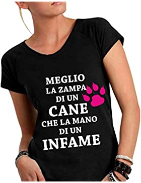 T-shirt DONNA cotone fiammato Scollo ampio a taglio vivo - MEGLIO LA ZAMPA DI UN CANE CHE LA MANO DI UN INFAME...