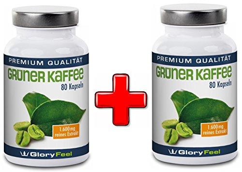Grüner Kaffee PREIS-LEISTUNGS-SIEGER* 2017 bei vergleich.org | 2 Dosen Grüner Kaffee Kapseln im Set - Hochdosiertes Green Coffee Extrakt + Vitamin C | 1.600 mg Grüner-Kaffee Pulver pro Tagesdosis