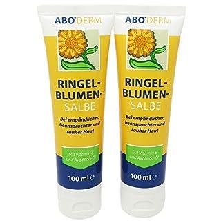 ABO Ringelblumen-Salbe Doppelpack 2x 100ml mit Vitamin E und Avocado-Öl bei beanspruchter und rauer Haut, Salbe mit dem Besten aus der Ringelblume