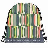 KAKALINQ Drawstring Backpack String Bag Blue 1950S Mid Pink Century Modern Pattern Colorful Geometric Graphic Interior Design Stripes Retro Series Sport Gym Sackpack Hiking Yoga Travel Beach