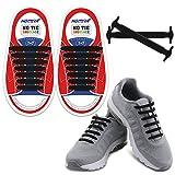 HOMAR Kind-Elastische Athletisch Flat No Tie Schnürsenkel ein für Alle Mal Silicon Schnürsenkel Perfekt für Sneaker Stiefel Oxford und Freizeitschuhe - Schwarz