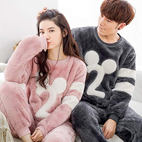JZX Flannel Couple Autumn and Winter Ladies Long Sleeve Suit Home Service, Coral Velvet Pajamas,E,Femelle L Yards