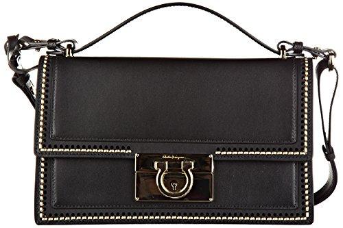Salvatore Ferragamo borsa donna a spalla shopping in pelle nuova aileen nero