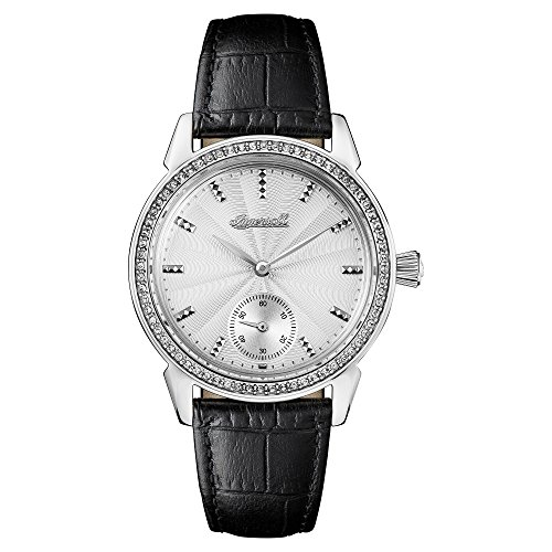 Ingersoll Women's The Gem Quartz Watch with Silver Dial and Black Leather Strap I03701