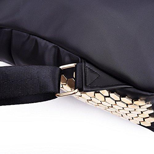 Rucksack Damenmode Nieten Wasserdichte Student Bag Black