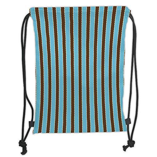 Fashion Printed Drawstring Backpacks Bags,Aqua,White Blue Stripes Bold Lines Zig Zag Wavy Design Image Vintage Print,Dark Brown and Turquoise Soft Satin,5 Liter Capacity,Adjustable String Closure, -