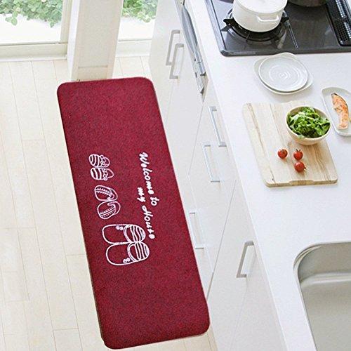 bd jfew Küche Matte Teppich Teppiche Fußmatten Bad Rutschfeste Maschinenwäsche, Dicke 8 mm, 6 Styles, 7 Größen (Farbe: Burgund #1, Größe: 50 * 80 + 50 * 120 cm)