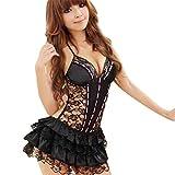 Sunnywill 1pc Dessous Rückenfreies Neckholder Babydoll String Spitzenkleid für Damen Frauen Mädchen (One Size, Schwarz)